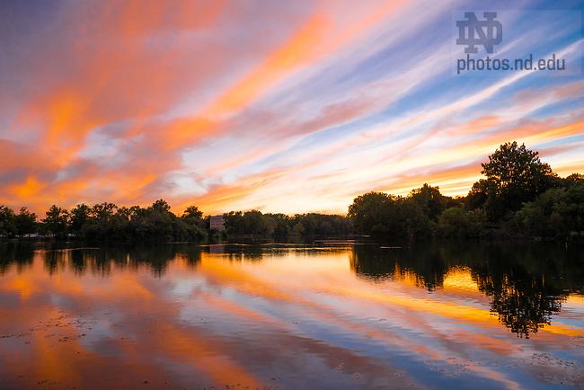August 11, 2020; Sunset over St. Mary's Lake (Photo by Matt Cashore/University of Notre Dame)