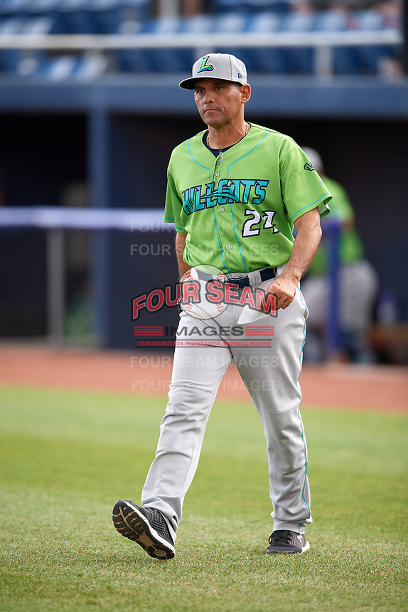 Lynchburg Hillcats manager Rouglas Odor (24) delivers the lineup prior to a game against the Salem Red Sox on May 10, 2018 at Haley Toyota Field in Salem, Virginia.  Lynchburg defeated Salem 11-5.  (Mike Janes/Four Seam Images)