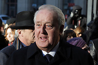 Former Canadian Prime Minister Brian Mulroney attend the funeral of Rene Angelil, , Friday Jan. 22, 2016 at Notre-Dame Basilica in Montreal, Canada.<br /> <br /> <br /> <br /> <br /> <br /> <br /> <br /> <br /> <br /> <br /> <br /> <br /> <br /> .