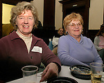 WATERBURY, CT- 03 FEBRUARY 2005-020305JS11--Ginny Ellis of Southbury and Carole Sinkevich of Monore at the Mattatuck Museum's First Thursday.  -- Jim Shannon Photo--Carole Sinkevich; Ginny Ellis; Mattatuck Museum's First Thursday. are CQ
