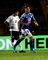 BOGOTÁ-COLOMBIA, 15–02-2020: Cristian Arango de Millonarios, corre a celebrar el segundo gol anotado de su equipo a Boyacá Chicó F.C., durante partido entre Millonarios y Boyacá Chicó F.C. de la fecha 5 por la Liga BetPlay DIMAYOR 2020 jugado en el estadio Nemesio Camacho El Campín de la ciudad de Bogotá. / Cristian Arango of Millonarios runs to celebrate the second scored goal from his team to Boyacá Chicó F.C., during a match between Millonarios and Boyaca Chico F.C. of the 5th date for the BetPlay DIMAYOR Leguaje I 2020 played at the Nemesio Camacho El Campin Stadium in Bogota city. / Photo: VizzorImage / Luis Ramírez / Staff.