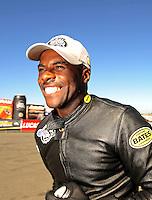 Jul. 18, 2010; Sonoma, CA, USA; NHRA pro stock motorcycle rider Michael Phillips celebrates after winning the Fram Autolite Nationals at Infineon Raceway. Mandatory Credit: Mark J. Rebilas-