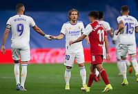 12th September 2021; Estadio Santiago Bernabeu, Madrid, Spain; La Liga, Real Madrid CF versus RC Celta de Vigo; Luca Modric and Karim Benzema celebrate their first goal