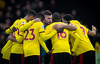 Ben Foster of Watford and the pre match team huddle during the Premier League match between Watford and Manchester United at Vicarage Road, Watford, England on 22 December 2019. Photo by Andy Rowland.