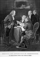Drafting the Declaration of Independence.  The Committee - Franklin, Jefferson, Adams, Livingston and Sherman.  1776.  copy of engraving after Alonzo Chappel. (Bureau of Public Roads)<br /> Exact Date Shot Unknown<br /> NARA FILE #:  030-N-31-170<br /> WAR & CONFLICT #:  19
