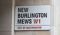 The New Burlington Mews street sign off Regent street in the City of London, London, England on 1 March 2018. Photo by Andy Rowland.
