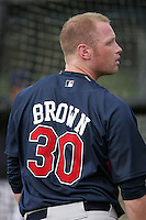 Cleveland Indians minor leaguer Jordan Brown during Spring Training at the Chain of Lakes Complex on March 16, 2007 in Winter Haven, Florida.  (Mike Janes/Four Seam Images)