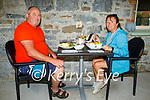 Enjoying the outdoor dining in the Horse Shoe Bar in Listowel on Monday, l to r: Dan O'Riordan (Listowel) and Yvonne Shaughessy.