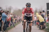 Jelle Wallays (BEL/Lotto-Soudal) at Carrefour de l'arbre<br /> <br /> 116th Paris-Roubaix (1.UWT)<br /> 1 Day Race. Compiègne - Roubaix (257km)