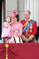 Princess Charlotte, Catherine Duchess of Cambridge, Prince William and Prince George<br /> on the balcony of Buckingham Palace during Trooping the Colour on The Mall, London. <br /> <br /> <br /> ©Ash Knotek  D3283  17/06/2017
