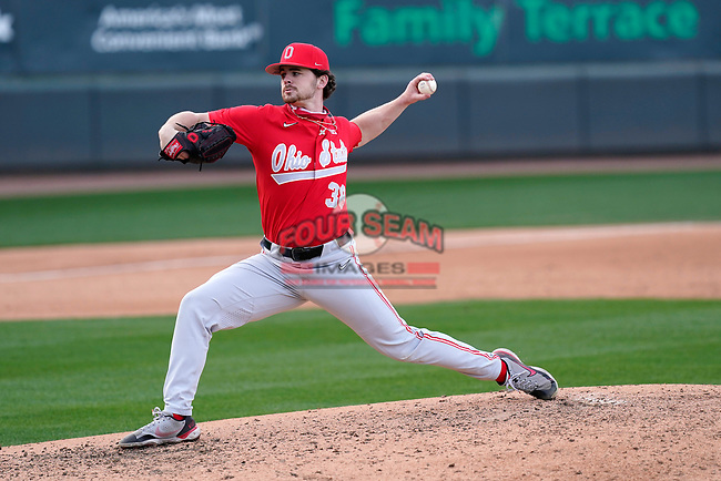 Relief pitcher Patrick Murphy (38) of the Ohio State Buckeyes in a game against the Illinois Fighting Illini on Friday, March 5, 2021, at Fluor Field at the West End in Greenville, South Carolina. (Tom Priddy/Four Seam Images)