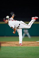 Rochester Red Wings relief pitcher Gabriel Moya (19) delivers a pitch during a game against the Pawtucket Red Sox on May 19, 2018 at Frontier Field in Rochester, New York.  Rochester defeated Pawtucket 2-1.  (Mike Janes/Four Seam Images)