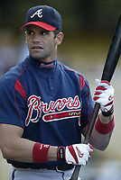 Javy Lopez of the Atlanta Braves during a 2003 season MLB game at Dodger Stadium in Los Angeles, California. (Larry Goren/Four Seam Images)