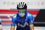Alejandro Valverde (ESP) Movistar Team heads to the start of Stage 3 of the 2021 UAE Tour running 166km from Al Ain to Jebel Hafeet, Abu Dhabi, UAE. 23rd February 2021.  <br /> Picture: Eoin Clarke | Cyclefile<br /> <br /> All photos usage must carry mandatory copyright credit (© Cyclefile | Eoin Clarke)