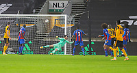 8th January 2021; Molineux Stadium, Wolverhampton, West Midlands, England; English FA Cup Football, Wolverhampton Wanderers versus Crystal Palace; Adama Traore of Wolverhampton Wanderers shoots and scores past Crystal Palace Goalkeeper Jack Butland in the 34th minute to take the lead 1-0