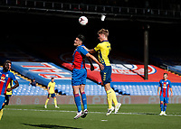5th September 2020; Selhurst Park, London, England; Pre Season Friendly Football, Crystal Palace versus Brondby; Sigurd Rosted of Brondby wins the header over Martin Kelly of Crystal Palace