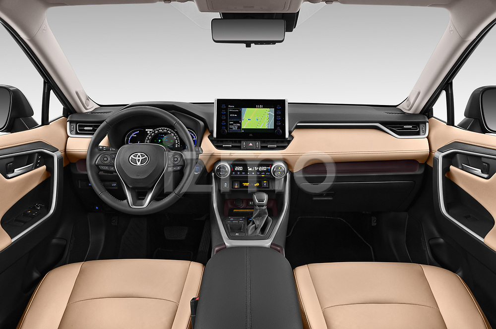 Stock photo of straight dashboard view of 2019 Toyota RAV4 Premium-hybrid 5 Door SUV Dashboard