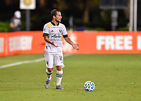 LAKE BUENA VISTA, FL - AUGUST 01: Sebastián Blanco #10 of the Portland Timbers looks for options with the ball during a game between Portland Timbers and New York City FC at ESPN Wide World of Sports on August 01, 2020 in Lake Buena Vista, Florida.