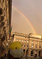 Un doppio arcobaleno visto fuori da Palazzo Chigi, dopo un temporale a Roma, 4 dicembre 2014.<br /> A double rainbow is seen from outside of Chigi Palace, Italian government office, in Rome, 4 December 2014.<br /> UPDATE IMAGES PRESS/Riccardo De Luca