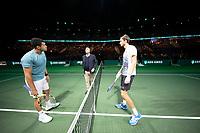 Rotterdam, The Netherlands, 14 Februari 2019, ABNAMRO World Tennis Tournament, Ahoy, Daniil Medvedev (RUS) vs [PR] Jo-Wilfried Tsonga (FRA), <br /> Photo: www.tennisimages.com/Henk Koster