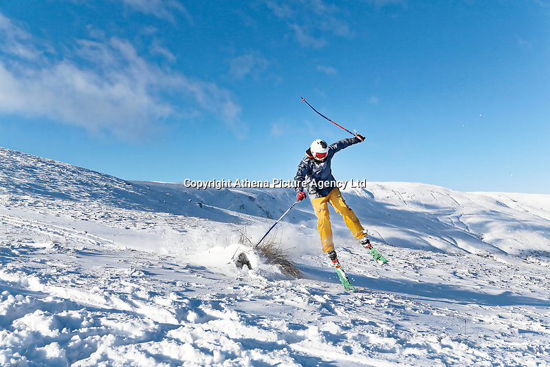 Pictured: A man skis in the snow at Storey Arms in the Brecon Beacons, Wales, UK. Monday 11 December 2017<br /> Re: Freezing temperatures, snow and ice has affected parts of the UK.