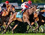 September 27, 2014: Stephanie's Kitten (9, red cap), ridden by John Velazquez, wins the Flower Bowl Stakes on Jockey Club Gold Cup Day at Belmont Park Race Track in Elmont, New York. Scott Serio/ESW/CSM