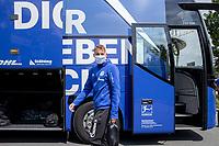 16th May 2020, Gelsenkirchen, Germany; Bundesliga football, Borussia Dortmund versus FC Schalke;   Departure of the FC Schalke 04 team for the game at Borussia Dortmund Timo Becker FC Schalke 04 with face mask