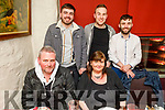 Enjoying the evening out in Cassidys on Thursday.<br /> Seated l to r: Pat Geraghty and Norma O'Connor.<br /> Back l to r: Daniel O'Sullivan, Aaron Daly and Peter Cotter.