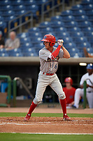 Clearwater Threshers shortstop Nick Maton (6) at bat during a Florida State League game against the Dunedin Blue Jays on April 4, 2019 at Spectrum Field in Clearwater, Florida.  Dunedin defeated Clearwater 11-1.  (Mike Janes/Four Seam Images)