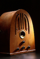 Wooden table model radio from the 'golden age of radio'. Houston Texas.