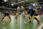 GER - Muelheim an der Ruhr, Germany, February 05: During the FinalFour final men hockey match between Rot-Weiss Koeln (whize) and Mannheimer HC (blue) on February 5, 2017 at innogy Sporthalle in Muelheim an der Ruhr, Germany. (Photo by Dirk Markgraf / www.265-images.com) *** Local caption *** Timm Haase #27 of Mannheimer HC, Paul Zmyslony #13 of Mannheimer HC