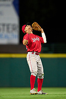 Worcester Red Sox shortstop Jeremy Rivera (53) catches a popup for the final out during a game against the Rochester Red Wings on September 3, 2021 at Frontier Field in Rochester, New York.  (Mike Janes/Four Seam Images)