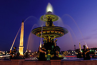 Paris, Ile de France, fountain, France, Europe, The Obelisque and fountain at Place de la Concorde in the city of Paris in the evening.