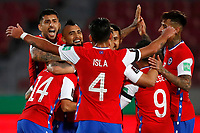 13th November 2020; National Stadium of Santiago, Santiago, Chile; World Cup 2020 Football qualification, Chile versus Peru;  Arturo Vidal of Chile celebrates his goal in the 20th minute 1-0