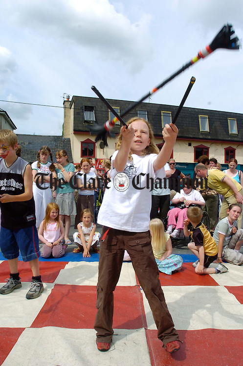 Lena Wimmer of the Galway Circus Project performing  during the street carnival in Ennis market on Sunday. Photograph by John Kelly.