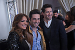 Singer Merche, David Bustamante and Jaime Cantizano pose during Cadena Dial music awards presentation in Madrid, Spain. February 05, 2015. (ALTERPHOTOS/Victor Blanco)
