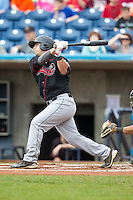 Great Lakes Loons designated hitter Tyler Ogle #28 bats during a game against the Quad Cities River Bandits at Modern Woodmen Park on April 29, 2013 in Davenport, Iowa. (Brace Hemmelgarn/Four Seam Images)