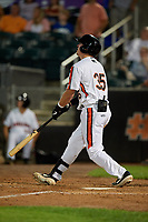 Aberdeen IronBirds Adley Rutschman (35) hits a home run during a NY-Penn League game against the Vermont Lake Monsters on August 19, 2019 at Leidos Field at Ripken Stadium in Aberdeen, Maryland.  Aberdeen defeated Vermont 6-2.  (Mike Janes/Four Seam Images)