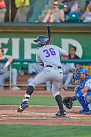 Christian Koss (36) of the Grand Junction Rockies at bat against the Ogden Raptors at Lindquist Field on August 28, 2019 in Ogden, Utah. The Rockies defeated the Raptors 8-5. (Stephen Smith/Four Seam Images)