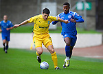 St Johnstone v Hibs...02.10.10  .Michael Hart and Jennison Myrie- Williams.Picture by Graeme Hart..Copyright Perthshire Picture Agency.Tel: 01738 623350  Mobile: 07990 594431