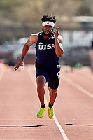 SAN ANTONIO, TX - MARCH 20, 2021: The University of Texas at San Antonio Roadrunners compete in the UTSA Invitational Track & Field Meet at the Park West Athletics Complex (Photo by Jeff Huehn).