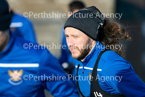St Johnstone Training…….Stevie May pictured during training at McDiarmid Park ahead of tomorrow's SPFL fixture against Livingston.<br />Picture by Graeme Hart.<br />Copyright Perthshire Picture Agency<br />Tel: 01738 623350  Mobile: 07990 594431