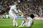 Real Madrid´s Sergio Ramos and Marcelo Vieira during Champions League soccer match between Real Madrid  and Paris Saint Germain at Santiago Bernabeu stadium in Madrid, Spain. November 03, 2015. (ALTERPHOTOS/Victor Blanco)