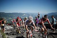 Polka dotted Thomas De Gendt (BEL/Lotto-Soudal) & teammate Adam Hansen (AUS/Lotto-Soudal) up the Lacets du Grand Colombier (Cat1/891m/8.4km/7.6%)<br /> <br /> stage 15: Bourg-en-Bresse to Culoz (160km)<br /> 103rd Tour de France 2016
