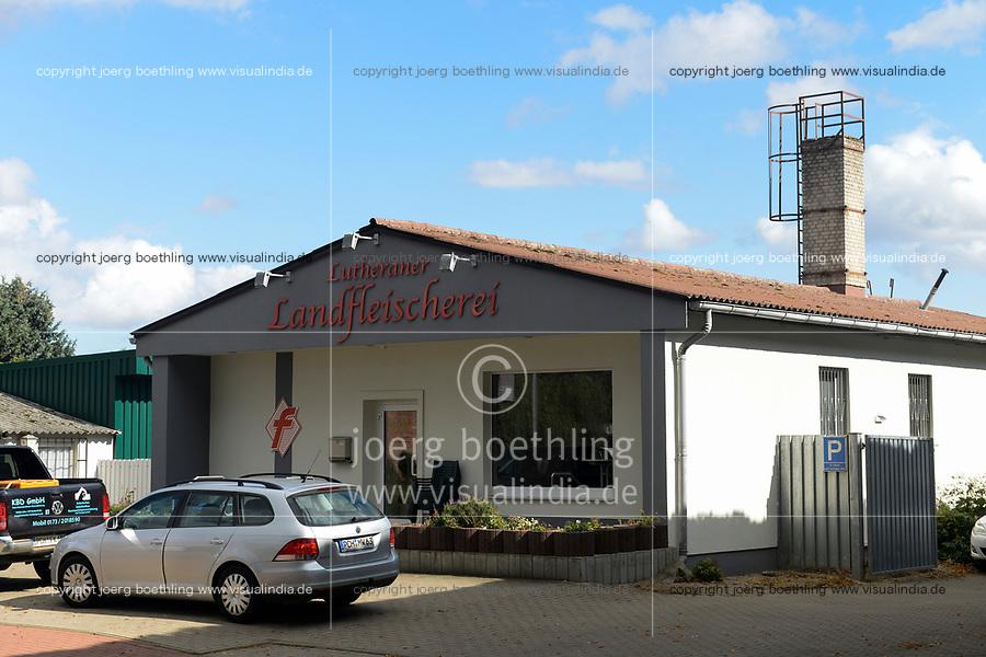 GERMANY, butcher  in village / DEUTSCHLAND, Mecklenburg-Vorpommern, Dorf Lutheran, Landschlachterei