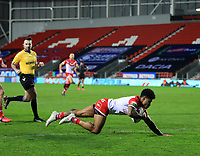 20th November 2020; Totally Wicked Stadium, Saint Helens, Merseyside, England; BetFred Super League Playoff Rugby, Saint Helens Saints v Catalan Dragons; Kevin Naiqama of St Helens scores a try after 31 minutes to give his team a 12-2 lead