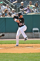 Will Swanner (23) of the New Britain Rock Cats bats during a game between the New Britain Rock Cats and the New Hampshire Fisher Cats at New Britain Stadium on April 19, 2015 in New Britain, Connecticut.<br /> (Gregory Vasil/Four Seam Images)