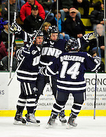 6 December 2009: University of New Hampshire Wildcats celebrate a first period goal against the University of Vermont Catamounts at Gutterson Fieldhouse in Burlington, Vermont. The Wildcats defeated the Catamounts 5-2 in the Hockey East matchup. Mandatory Credit: Ed Wolfstein Photo