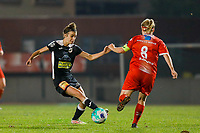 Justine Blave (22) of Eendracht Aalst pictured in a duel with Jana Simons (8) of Woluwe during a female soccer game between FC Femina White Star Woluwe and Eendracht Aalst on the sixth matchday in the 2021 - 2022 season of Belgian Scooore Womens Super League , friday 8 th of october 2021  in Woluwe , Belgium . PHOTO SPORTPIX | KRISTOF DE MOOR