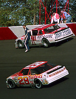 Dale Jarrett hits the wall during the Atlanta Journal 500 at Atlanta International Raceway in Hampton, GA, November 1988.  (Photo by Brian Cleary/www.bcpix.com)